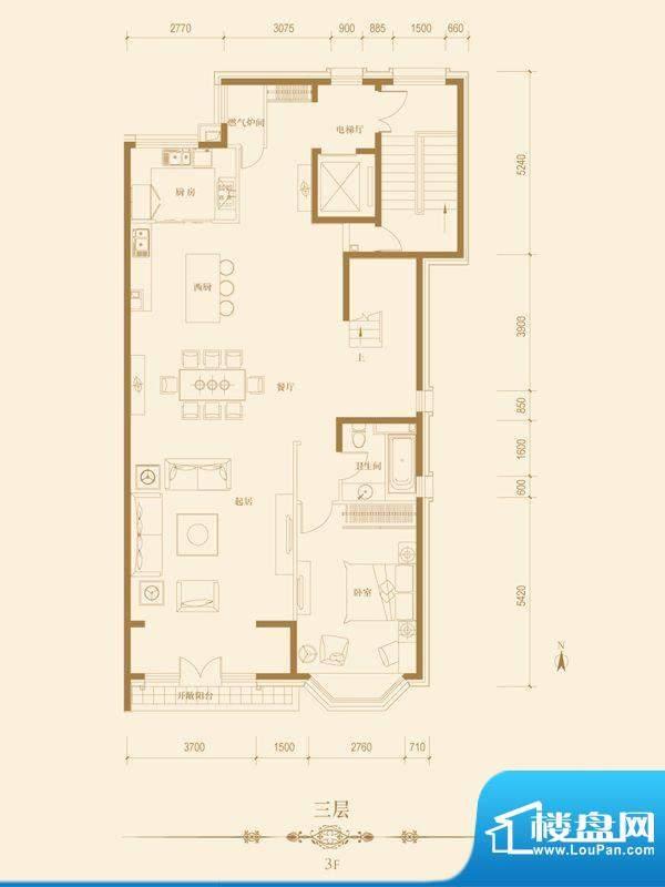 华贸城·铂金墅金台墅3层户型图