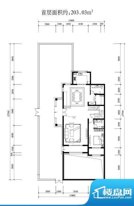 金科西府叠墅首层户型图 4室2厅面积:203.03平米