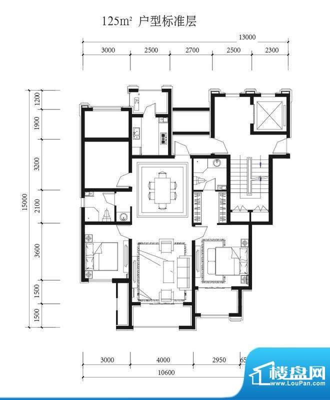金科西府西区平墅户型图 3室2厅面积:125.00平米