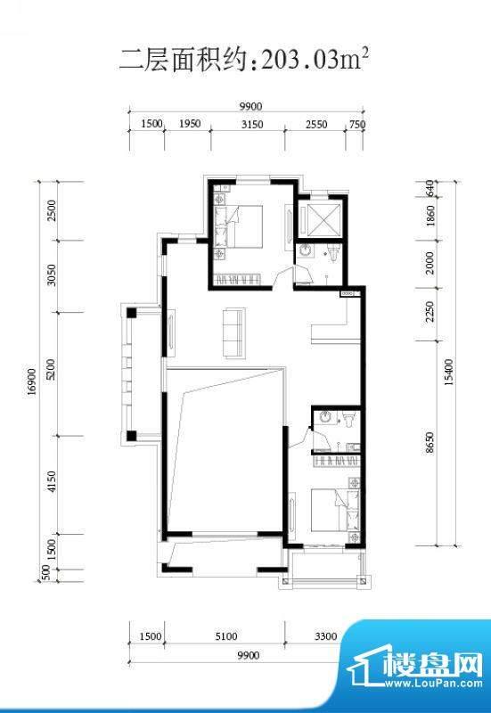 金科西府叠墅二层户型图 面积:203.03平米