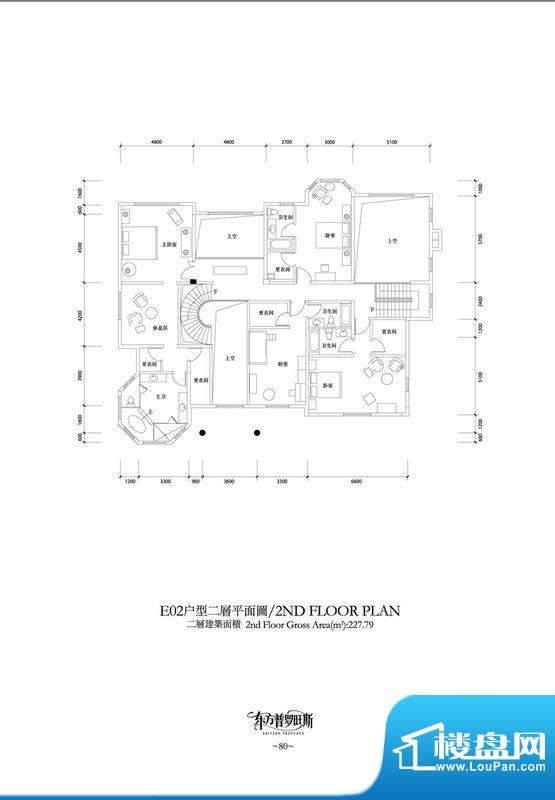 东方普罗旺斯E2二层户型图 4室面积:227.79平米
