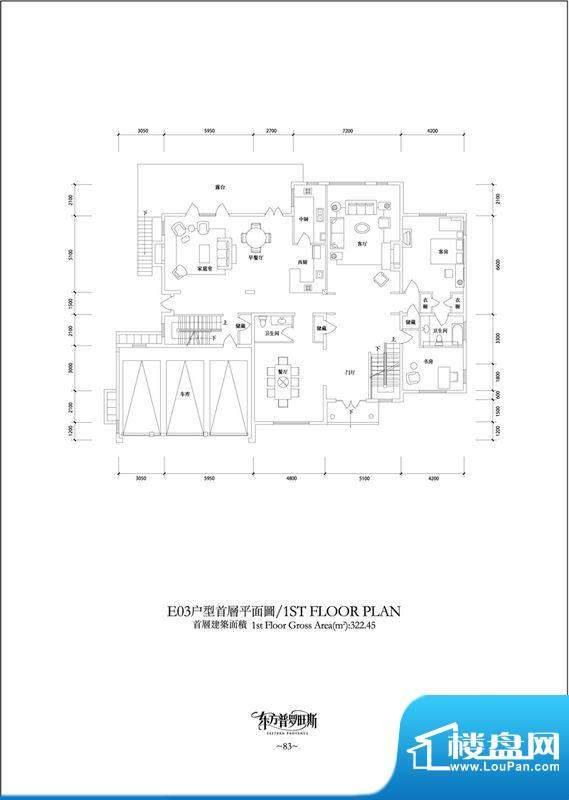 东方普罗旺斯E3首层户型图 2室面积:322.45平米