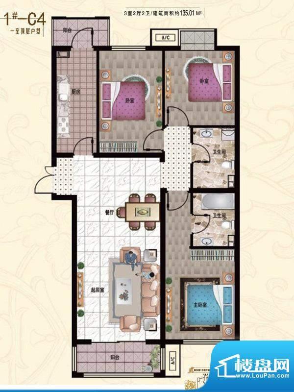行宫·御东园1-C4户型图 3室2厅面积:135.01平米