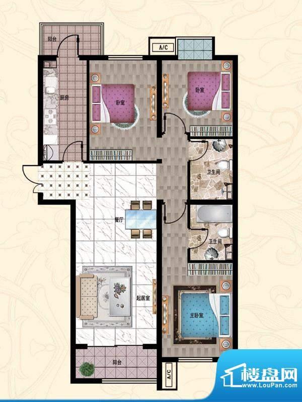 行宫·御东园5-C3户型图 3室2厅面积:132.42平米