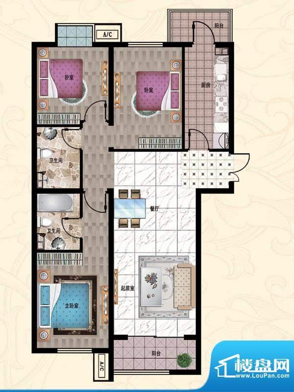 行宫·御东园5-C4户型图 3室2厅面积:132.42平米