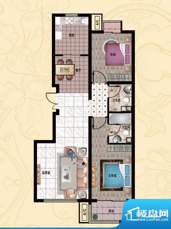 行宫·御东园8-B2户型图 2室2厅面积:103.68平米
