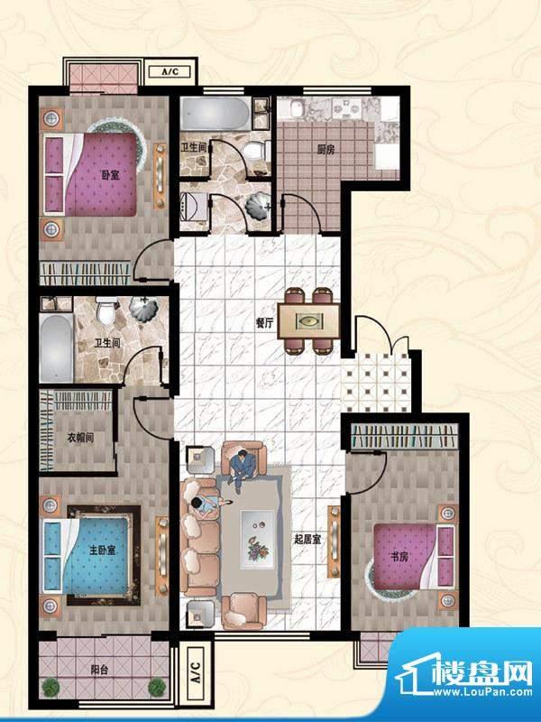 行宫·御东园8-C1户型图 3室2厅面积:133.86平米
