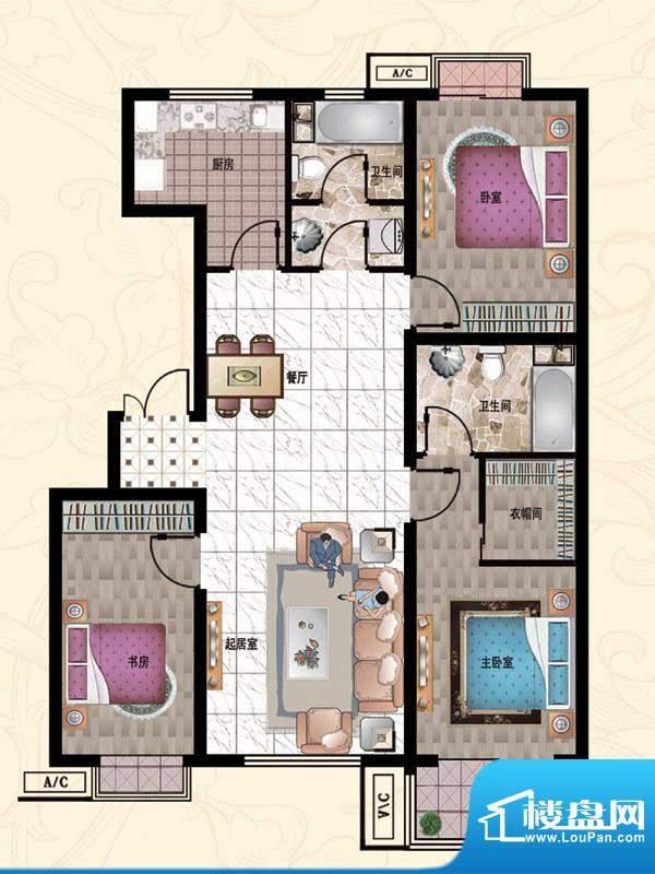 行宫·御东园8-C2户型图 3室2厅面积:133.86平米