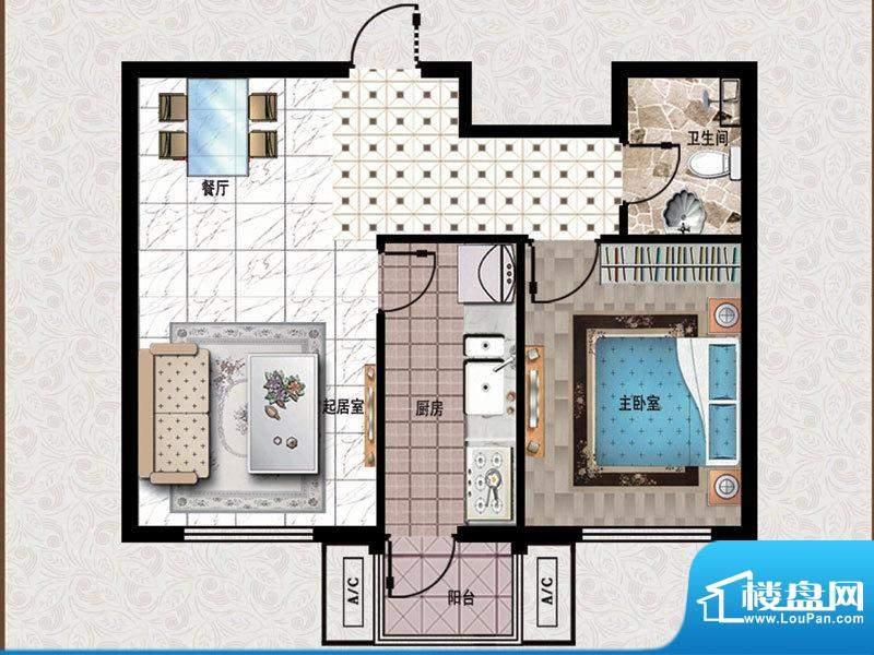 行宫·御东园5-A1户型图 1室1厅面积:71.06平米