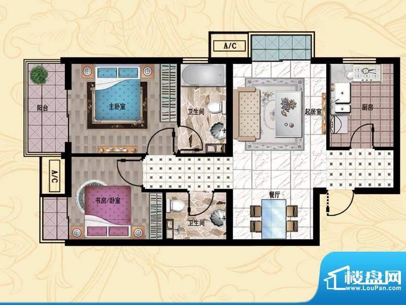 行宫·御东园5-B1户型图 2室2厅面积:94.12平米