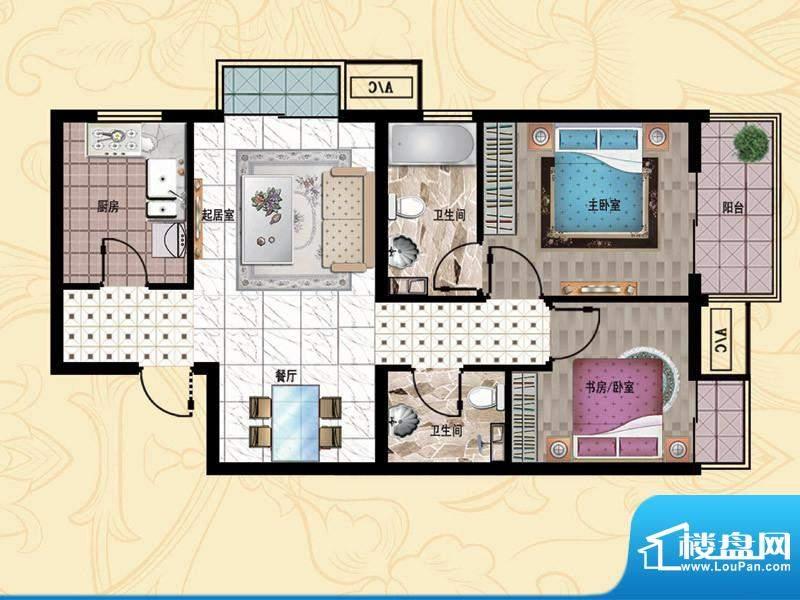 行宫·御东园5-B2户型图 2室2厅面积:94.12平米
