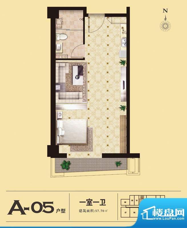 易居国际A-05户型 1室1厅1卫1厨面积:57.70平米