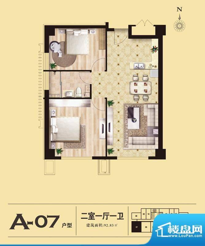 易居国际A-07户型 2室1厅1卫1厨面积:92.83平米