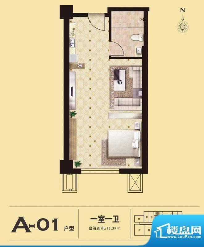 易居国际A-01户型 1室1厅1卫1厨面积:52.39平米