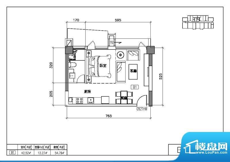 易居国际B1户型图 1室2厅1卫2厨面积:54.79平米
