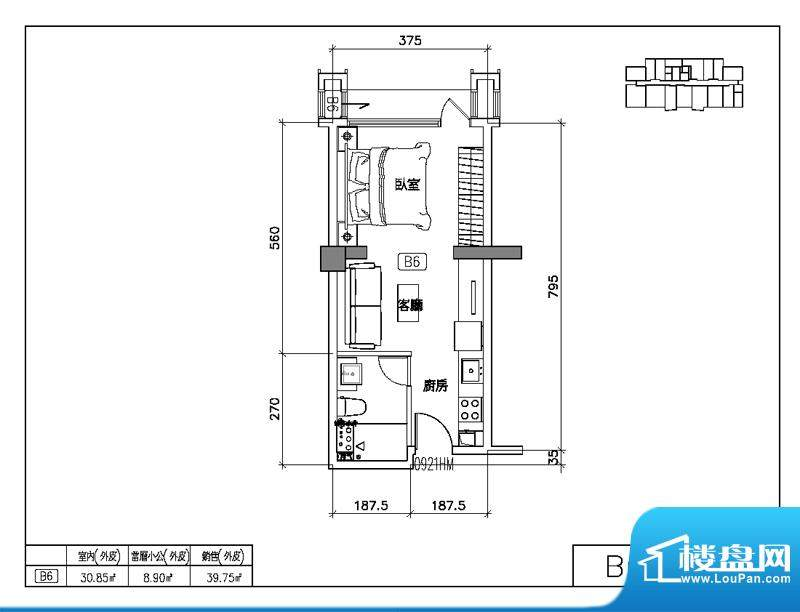 易居国际B6户型图 1室2厅1卫1厨面积:65.89平米