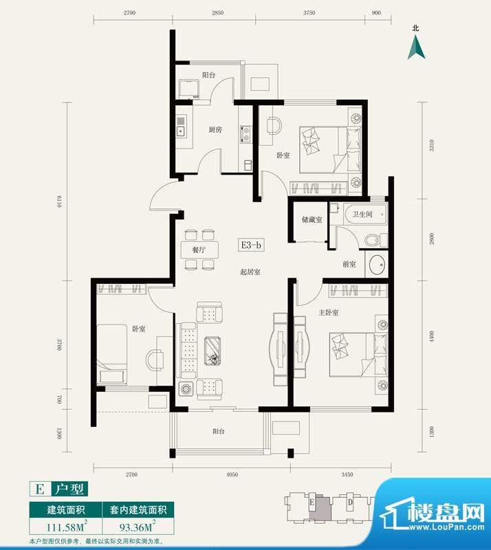 伊舍小镇E3户型 3室1厅1卫1厨面积:111.58平米