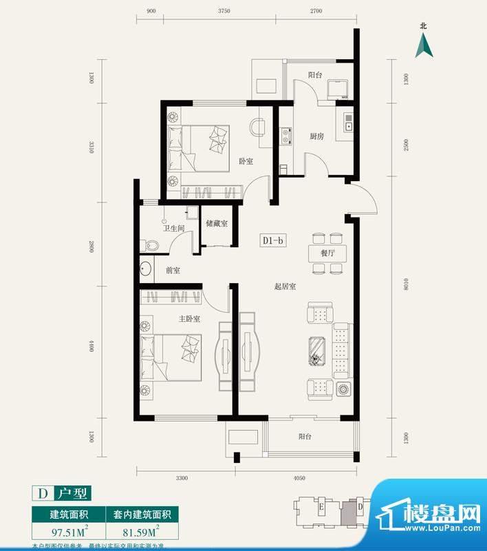 伊舍小镇D1户型 2室1厅1卫1厨面积:97.51平米