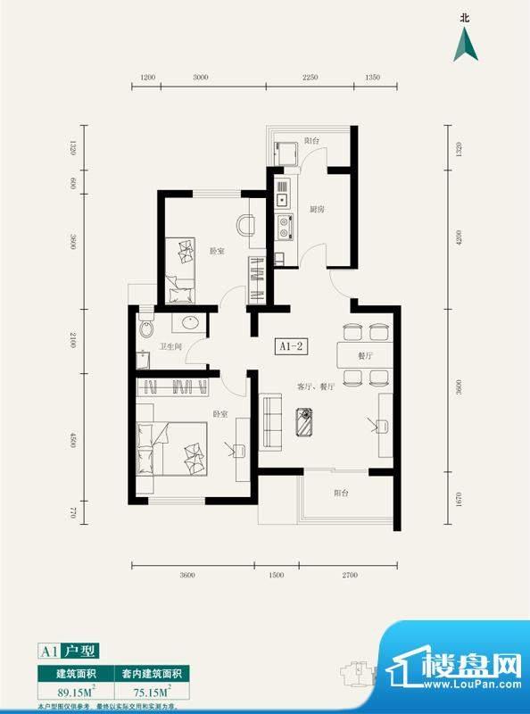 伊舍小镇A1-2户型图(售完) 2面积:89.15平米