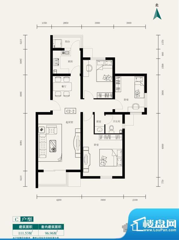伊舍小镇C2户型图(售完) 3室2厅面积:111.53平米