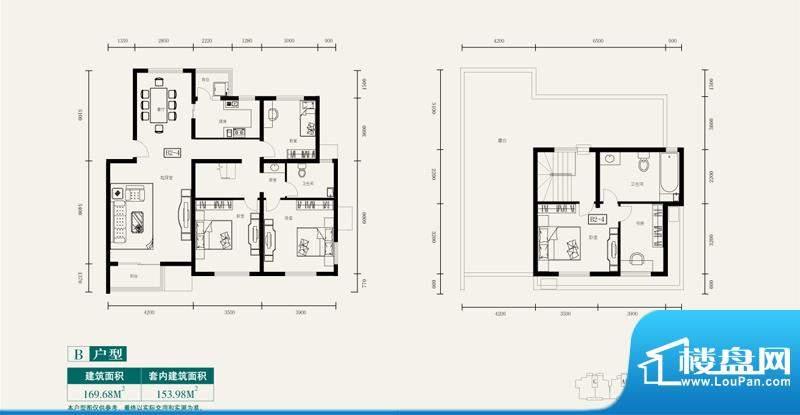 伊舍小镇跃层B户型图 4室3厅2卫面积:169.68平米
