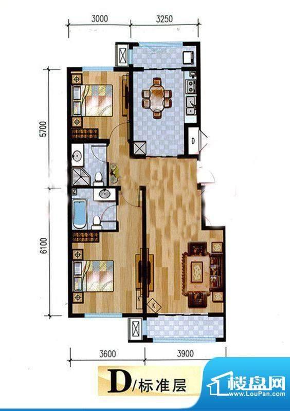 悦泽苑D户型图 2室2厅2卫1厨面积:100.00平米