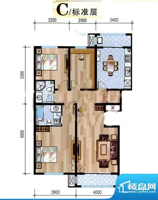 悦泽苑C户型图 3室2厅2卫1厨面积:120.00平米