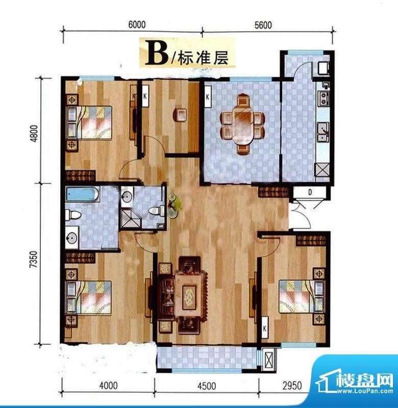 悦泽苑B户型图 4室2厅2卫1厨面积:140.00平米