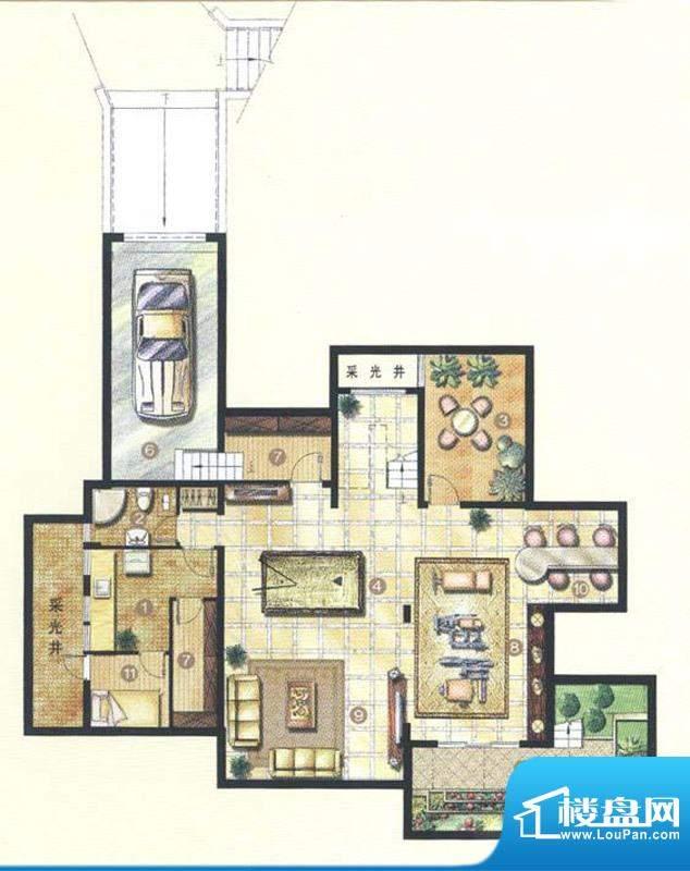 佘山东郡A9户型地下室 5室3厅4面积:319.35平米