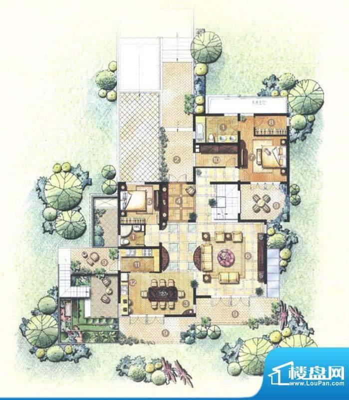 佘山东郡A10户型一层 5室3厅3卫面积:302.91平米