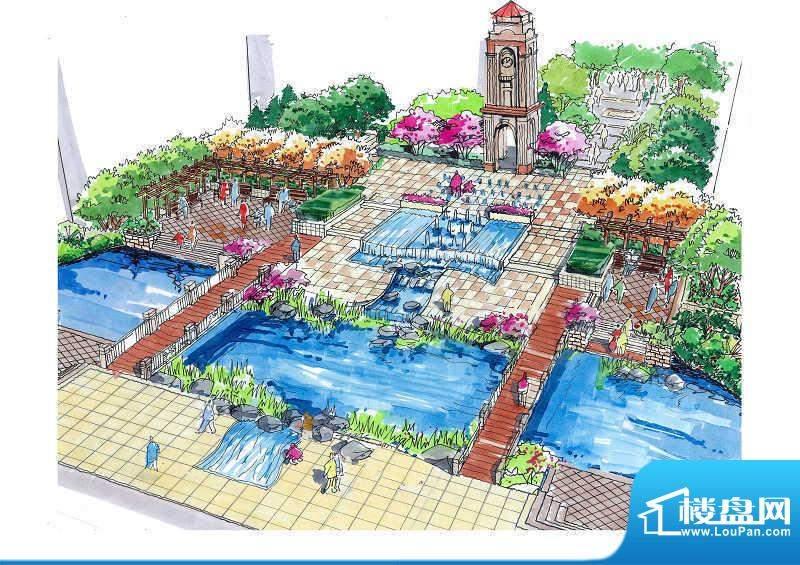鲁能7号院园林手绘外景图