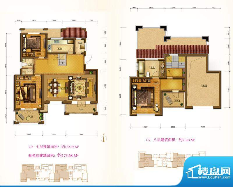 鲁能7号院C7户型 3室2厅2卫1厨面积:173.68平米