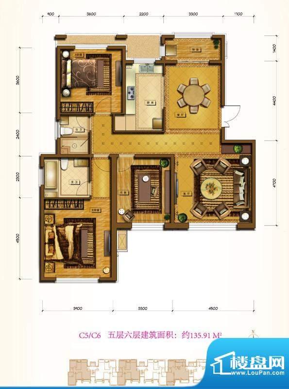 鲁能7号院C5/C6户型 3室2厅2卫面积:135.91平米