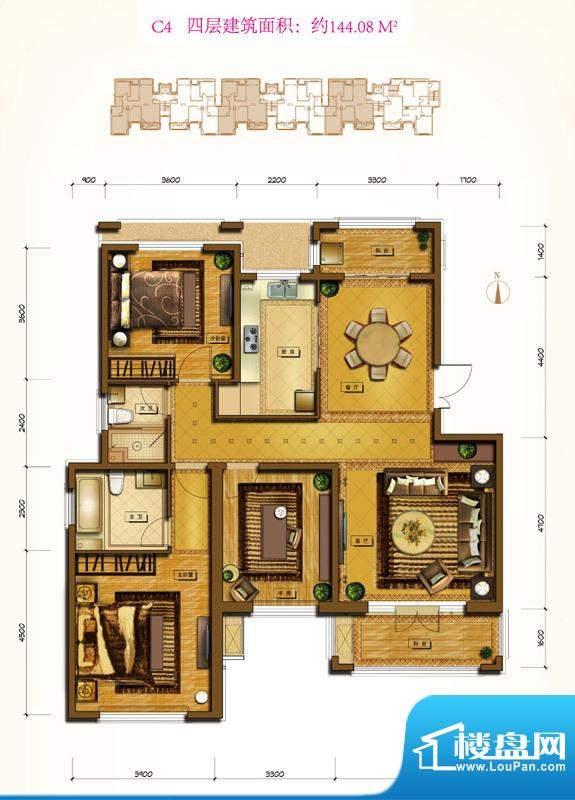 鲁能7号院C4户型 3室2厅2卫1厨面积:144.08平米