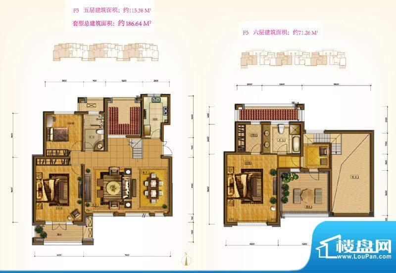 鲁能7号院F5户型 3室3厅2卫1厨面积:186.64平米