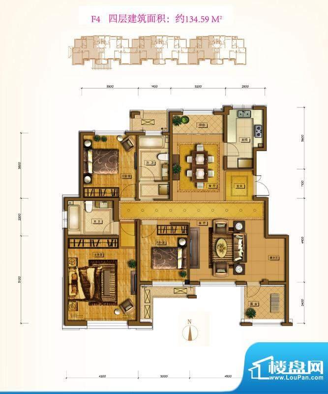 鲁能7号院F4户型 3室2厅2卫1厨面积:134.59平米