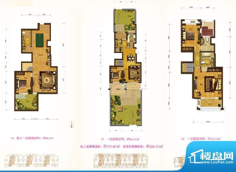鲁能7号院F2户型 3室3厅4卫1厨面积:260.15平米