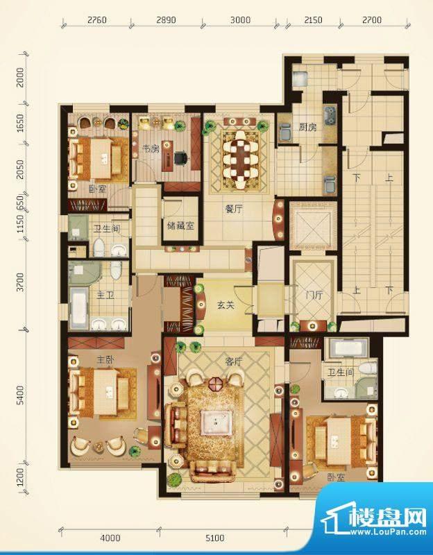 华彩·和悦府A户型 4室2厅3卫1面积:225.16平米