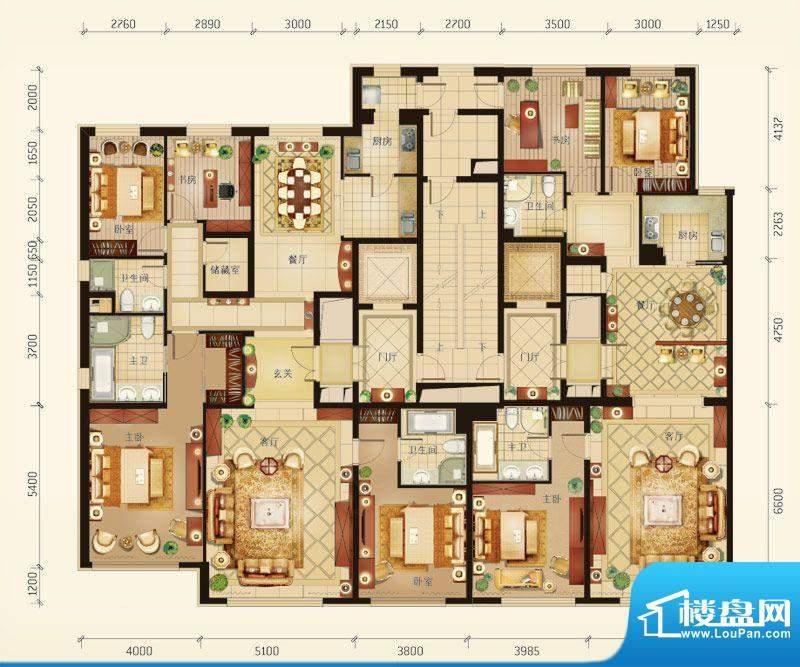 华彩·和悦府A/B户型 7室4厅5卫面积:386.71平米