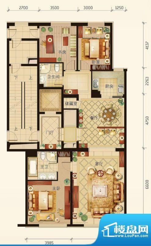 华彩·和悦府B户型 3室2厅2卫1面积:161.55平米