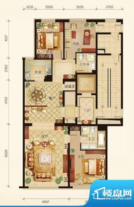 华彩·和悦府C户型 3室2厅2卫1面积:161.55平米