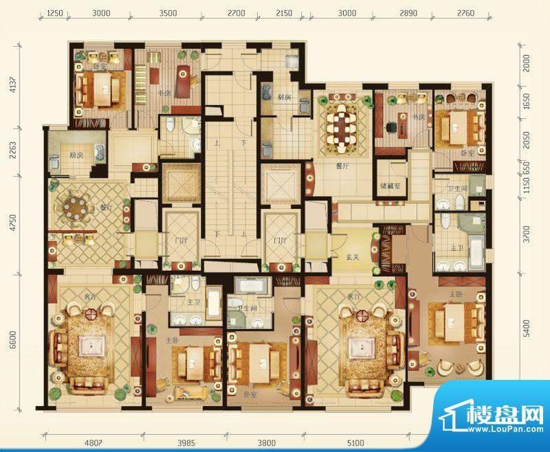 华彩·和悦府C/D户型 7室4厅5卫面积:386.71平米