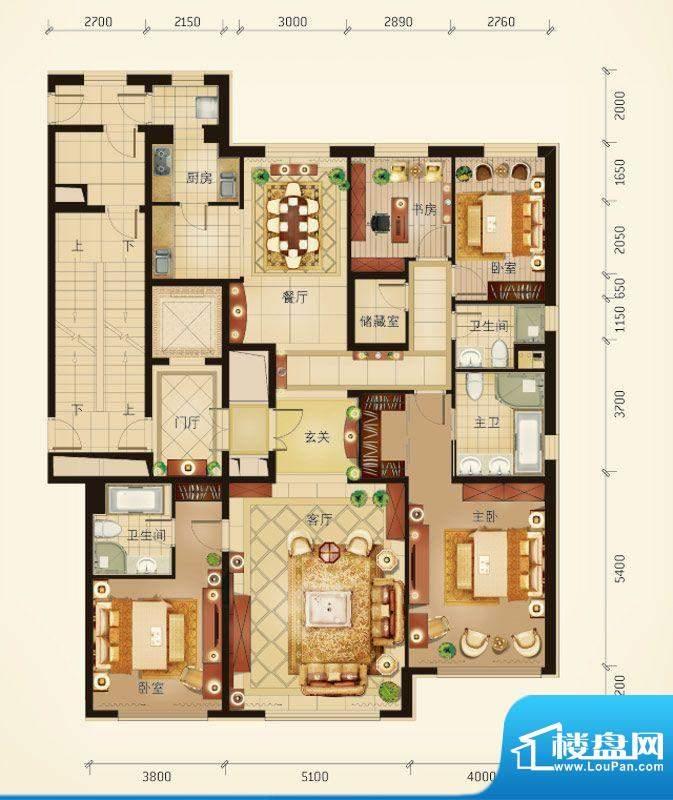 华彩·和悦府D户型 4室2厅3卫1面积:225.16平米