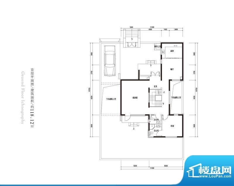 观唐云鼎d1户型首层 1室2厅2卫面积:118.12平米
