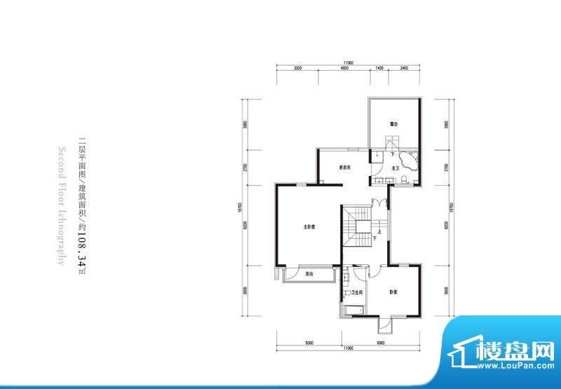 观唐云鼎d1户型二层 2室2卫面积:108.34平米