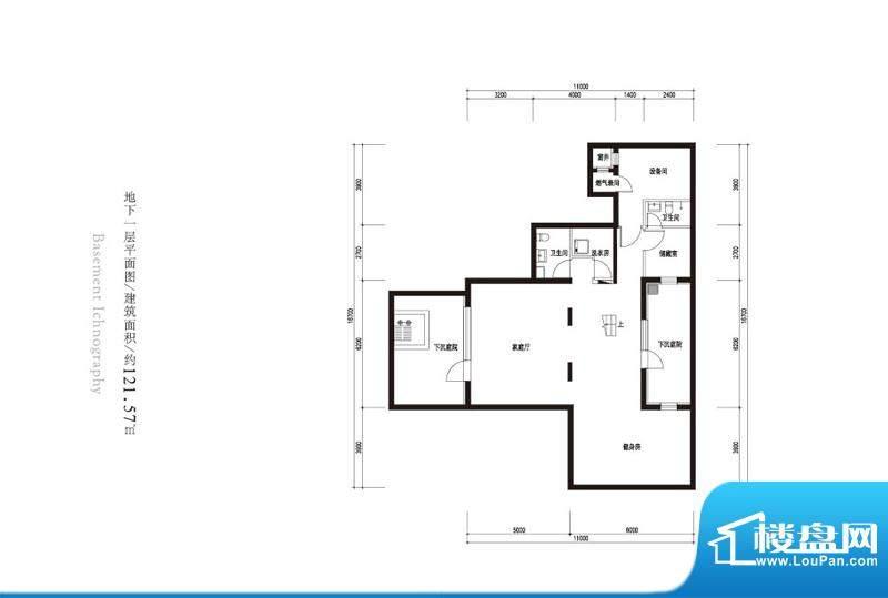 观唐云鼎d1户型地下一层 2室1厅面积:121.57平米