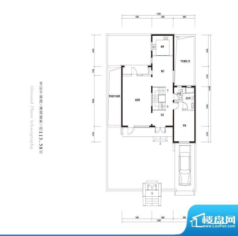 观唐云鼎d2户型首层 2室1厅2卫面积:113.58平米