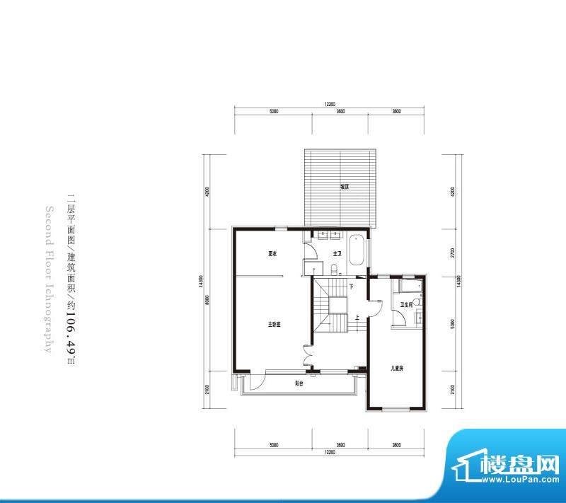观唐云鼎d2户型二层 2室1卫面积:106.49平米