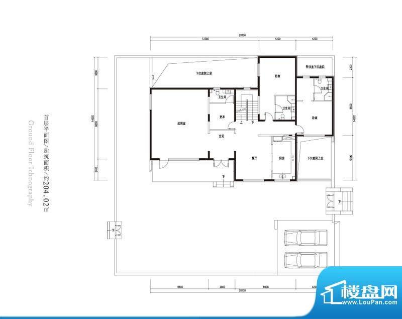 观唐云鼎a户型首层 2室2厅2卫1面积:204.02平米