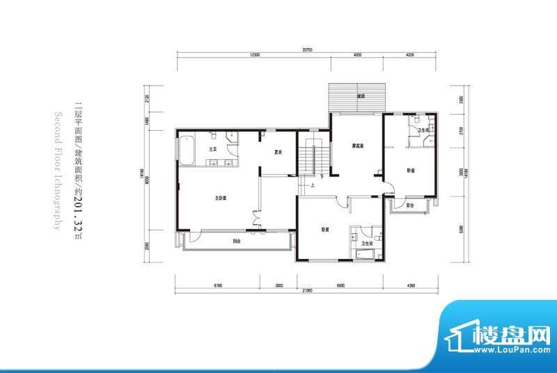 观唐云鼎a户型二层 4室3卫面积:201.32平米